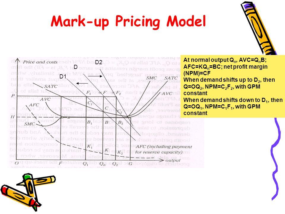 Mark-up Pricing Model D D2 D1 At normal output Q n, AVC=Q n B; AFC=KQ n =BC; net profit margin (NPM)=CF When demand shifts up to D 2, then Q=OQ 2, NPM=C 2 F 2, with GPM constant When demand shifts down to D 1, then Q=OQ 1, NPM=C 1 F 1, with GPM constant
