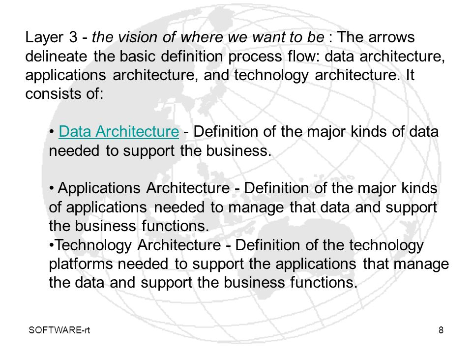 SOFTWARE-rt8 Layer 3 - the vision of where we want to be : The arrows delineate the basic definition process flow: data architecture, applications arc