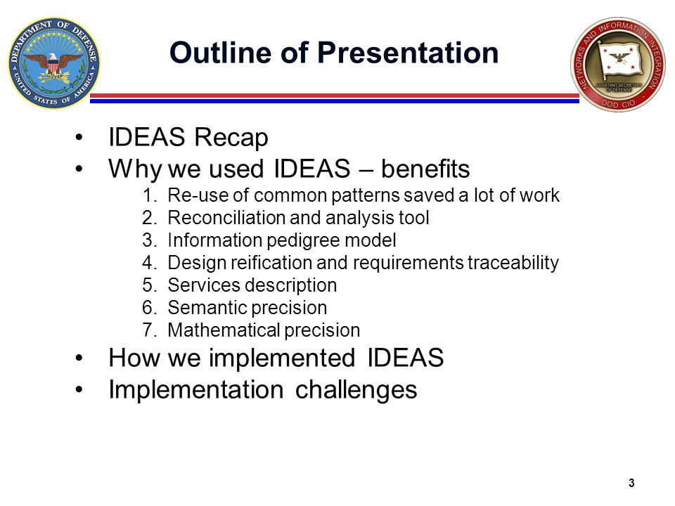 3 Outline of Presentation IDEAS Recap Why we used IDEAS – benefits 1.Re-use of common patterns saved a lot of work 2.Reconciliation and analysis tool
