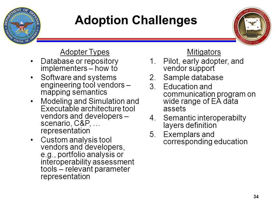 34 Adoption Challenges Adopter Types Database or repository implementers – how to Software and systems engineering tool vendors – mapping semantics Mo