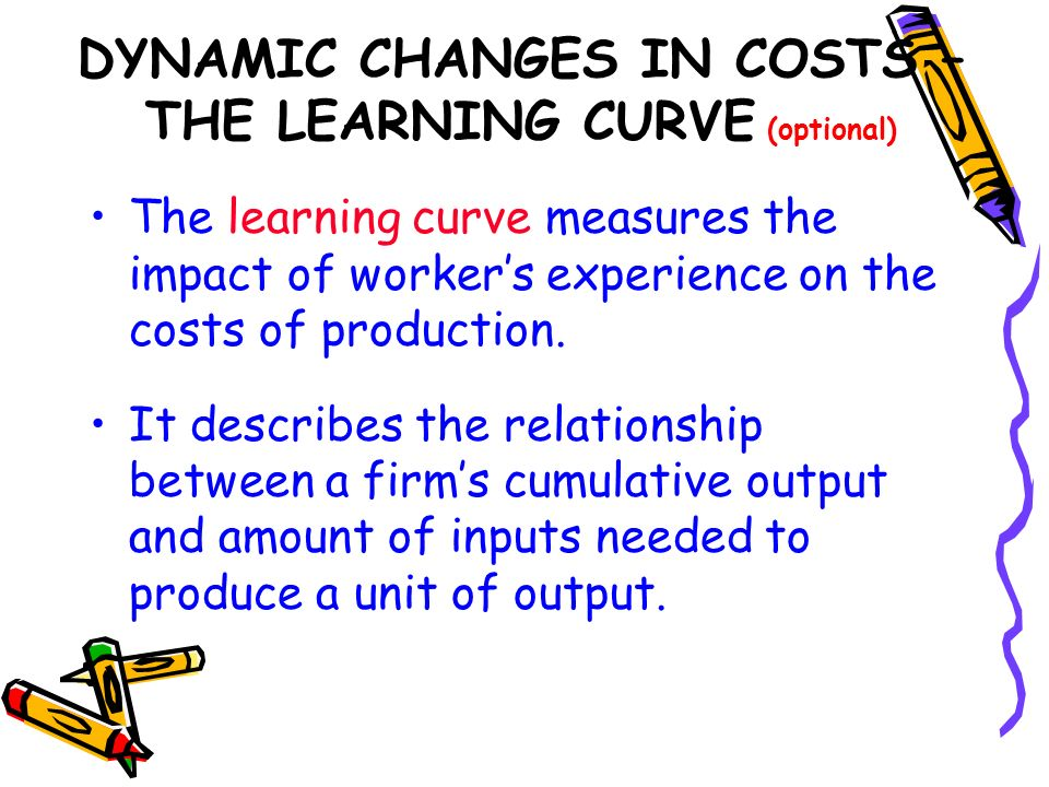 DYNAMIC CHANGES IN COSTS – THE LEARNING CURVE (optional) The learning curve measures the impact of workers experience on the costs of production. It d