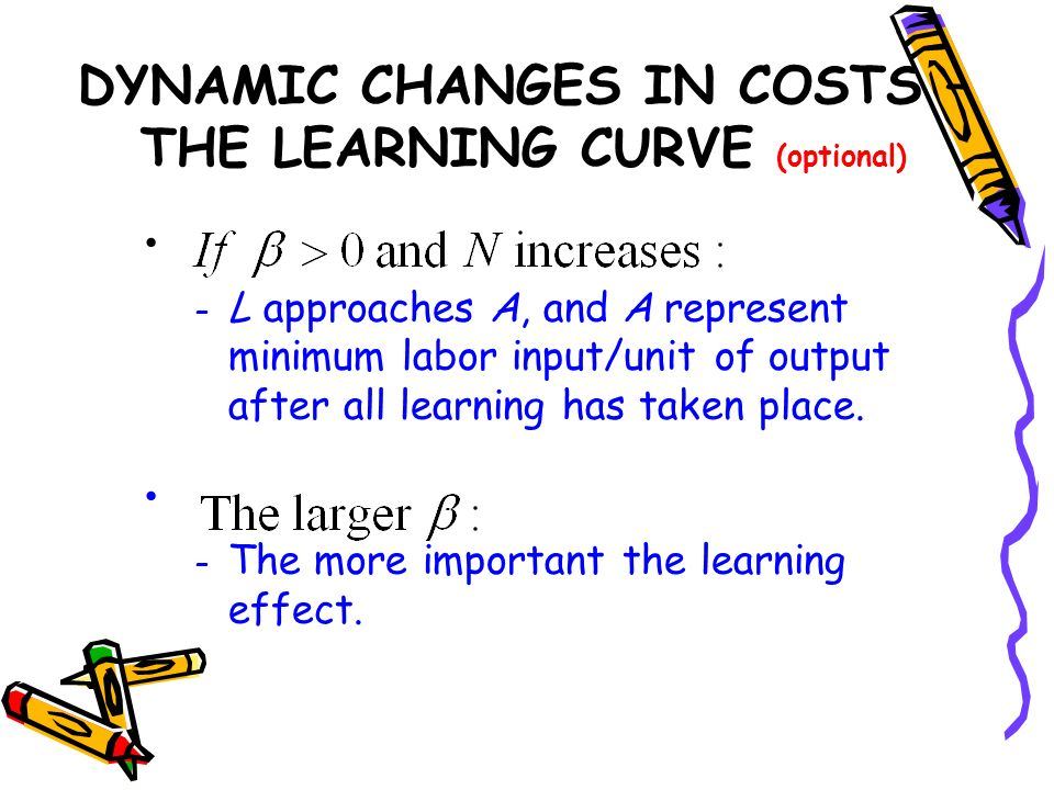 – L approaches A, and A represent minimum labor input/unit of output after all learning has taken place. – The more important the learning effect. DYN
