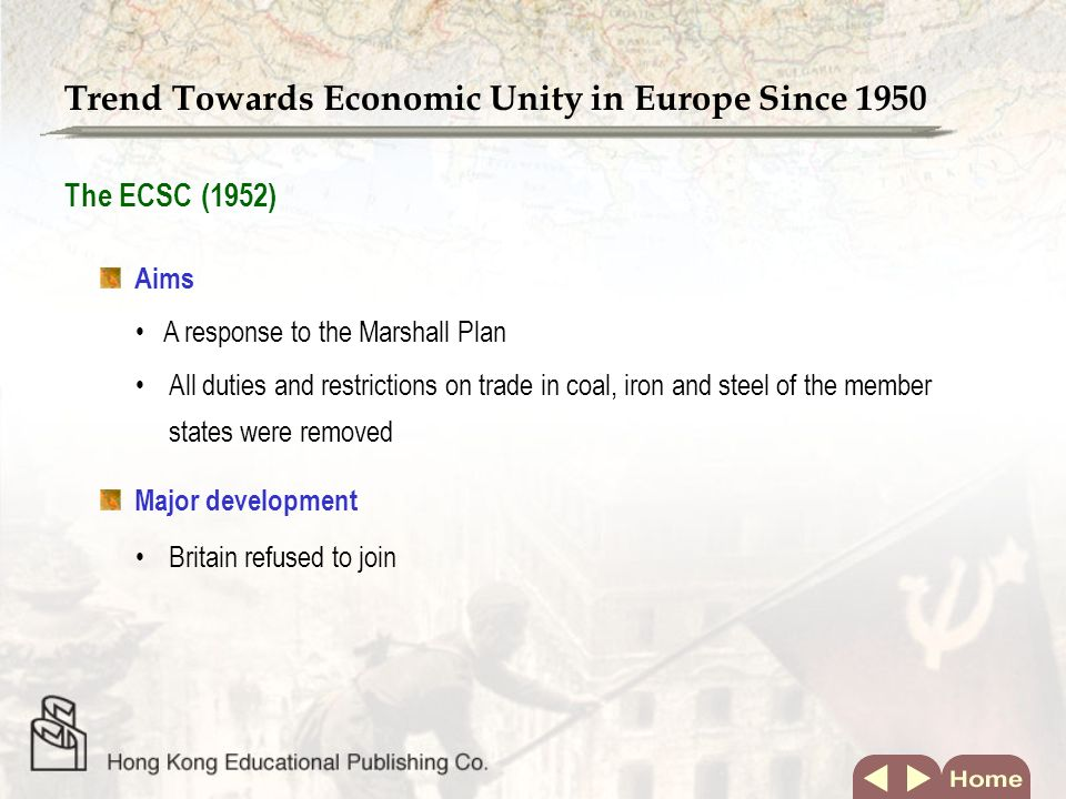 Time Track Trend Towards Economic Unity in Europe Since 1950 The EC renamed the EU1992 The EEC was renamed the EC1967 EFTA formed1960 The EEC formed1957 The ECSC formed1952 EventYear