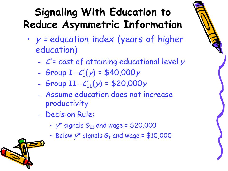 Signaling With Education to Reduce Asymmetric Information y = education index (years of higher education) – C = cost of attaining educational level y