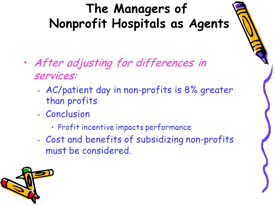 After adjusting for differences in services: – AC/patient day in non-profits is 8% greater than profits – Conclusion Profit incentive impacts performa