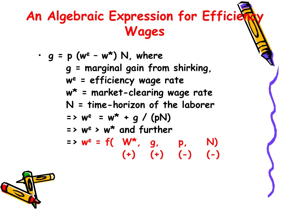 An Algebraic Expression for Efficiency Wages g = p (w e – w*) N, where g = marginal gain from shirking, w e = efficiency wage rate w* = market-clearin