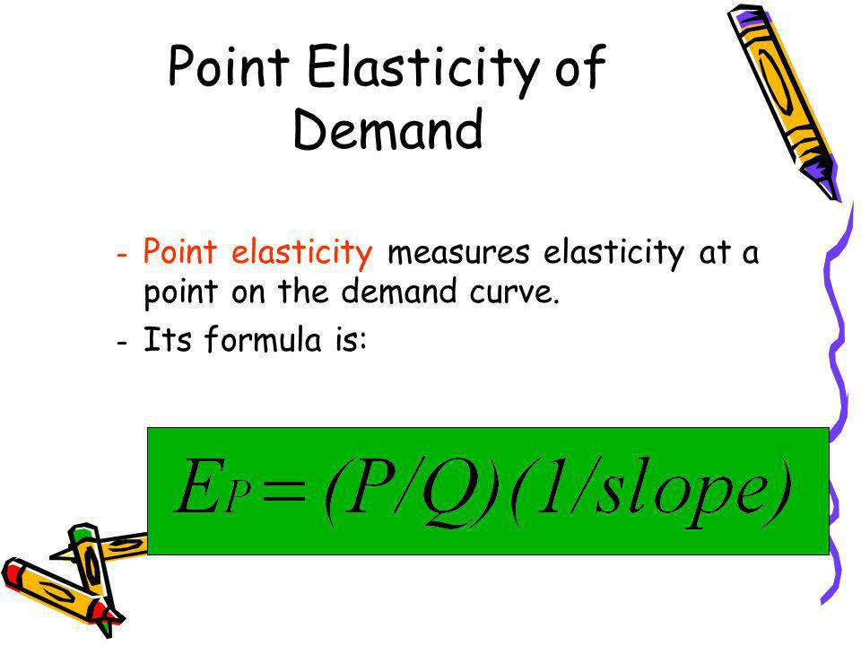 Point Elasticity of Demand – Point elasticity measures elasticity at a point on the demand curve. – Its formula is: