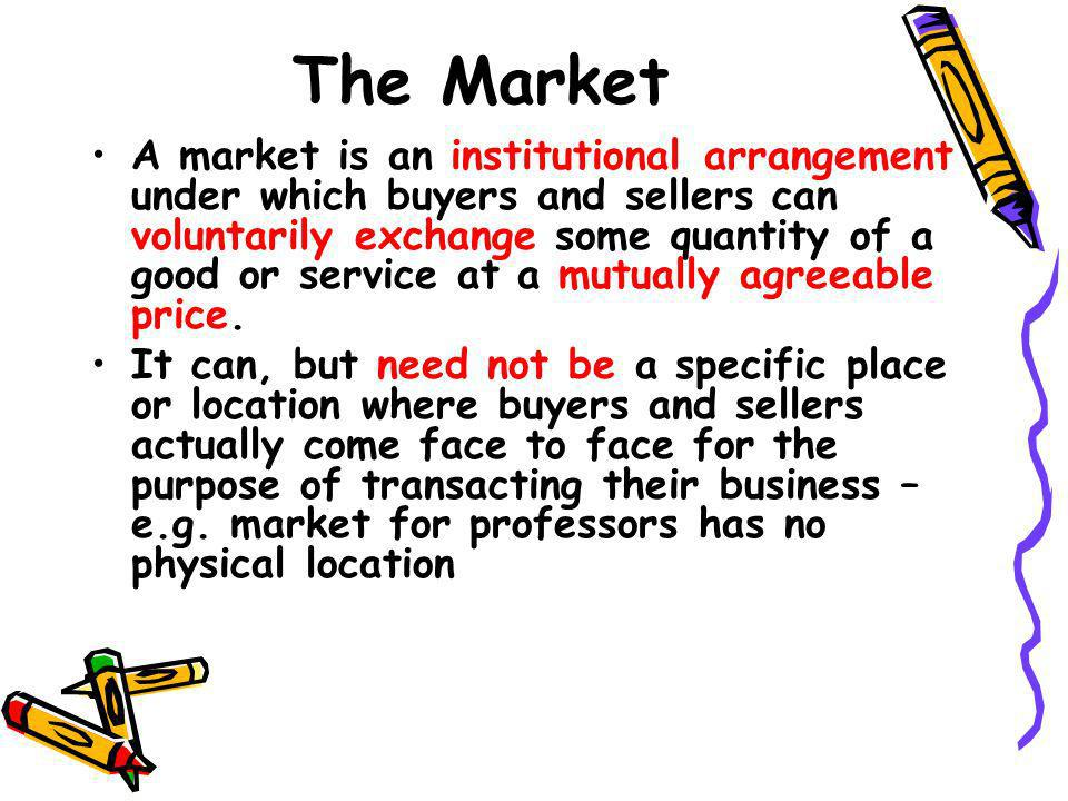 The Market A market is an institutional arrangement under which buyers and sellers can voluntarily exchange some quantity of a good or service at a mu