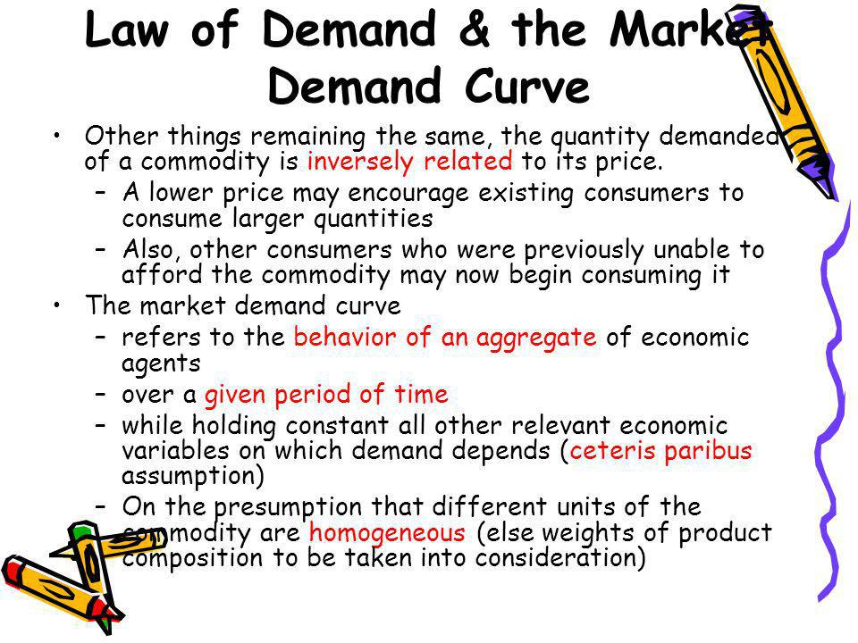 Law of Demand & the Market Demand Curve Other things remaining the same, the quantity demanded of a commodity is inversely related to its price. –A lo