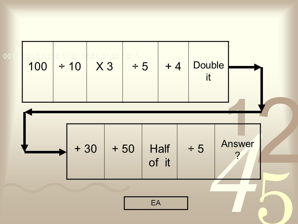 100÷ 10X 3÷ 5+ 4 Double it + 30+ 50Half of it ÷ 5 Answer ? EA