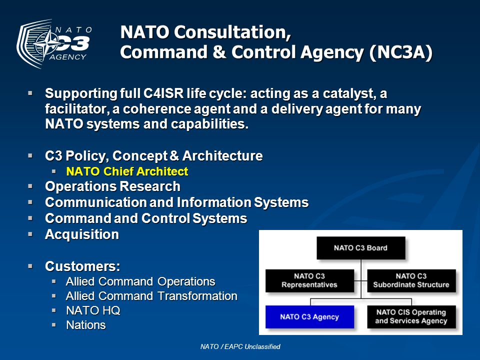 NATO Consultation, Command & Control Agency (NC3A) Supporting full C4ISR life cycle: acting as a catalyst, a facilitator, a coherence agent and a deli