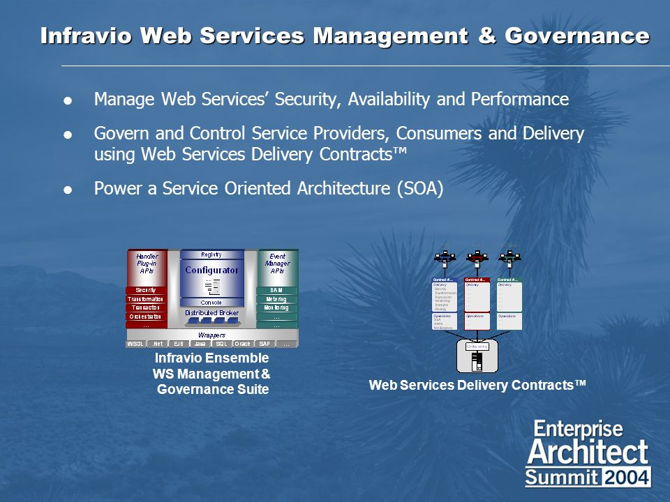Infravio Web Services Management & Governance Manage Web Services Security, Availability and Performance Govern and Control Service Providers, Consume