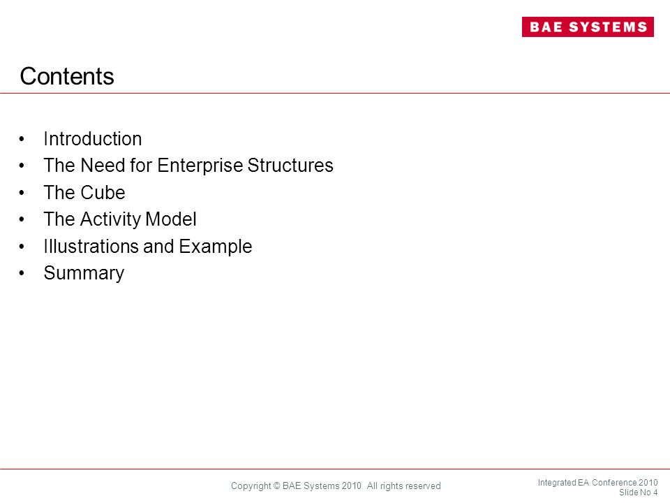 Integrated EA Conference 2010 Slide No 15 Copyright © BAE Systems 2010 All rights reserved Ways and Means Need a range of different ways and means*, or functions, to realise capability, such as: People Equipment Procedures Infrastructure Support Contributions from all of these need to be integrated and harmonised effectively to enable each specific capability (*UK MoD – DLoDs, US DoD – DOTMLPF, and so on)