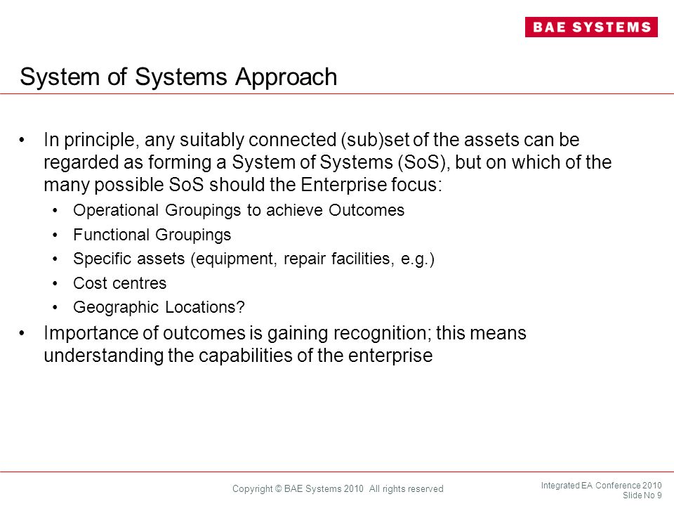 Integrated EA Conference 2010 Slide No 20 Copyright © BAE Systems 2010 All rights reserved Search and Rescue Architecting across Capabilities Emergency Accommodation Security There are areas (activities) in the model where there will be touch points across the capabilities, including: Establishing capability needs Architecting within individual functions Deploying capabilities to an operation