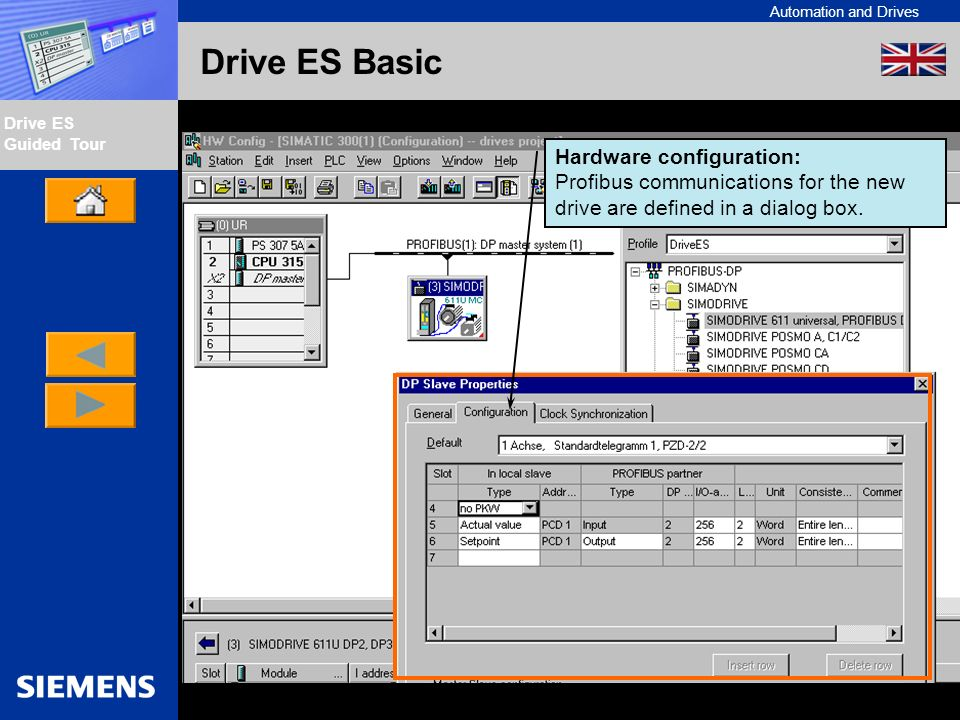 Automation and Drives Drive ES Guided Tour Intern Edition 01/02 Drive ES Basic Hardware configuration: Profibus communications for the new drive are d