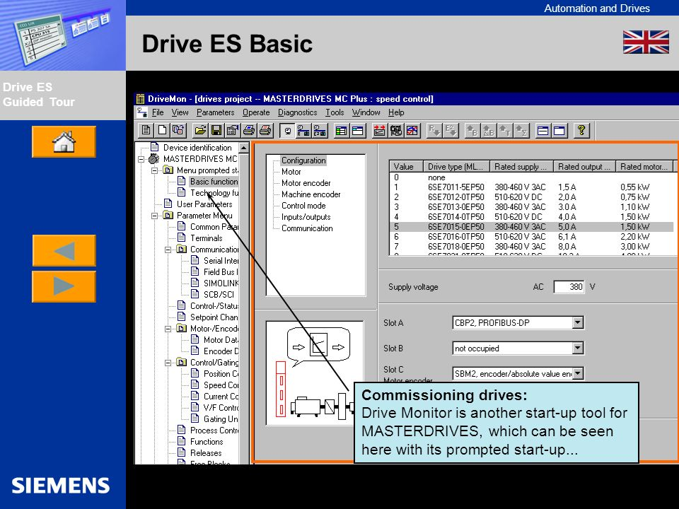Automation and Drives Drive ES Guided Tour Intern Edition 01/02 Drive ES Basic Commissioning drives: Drive Monitor is another start-up tool for MASTER