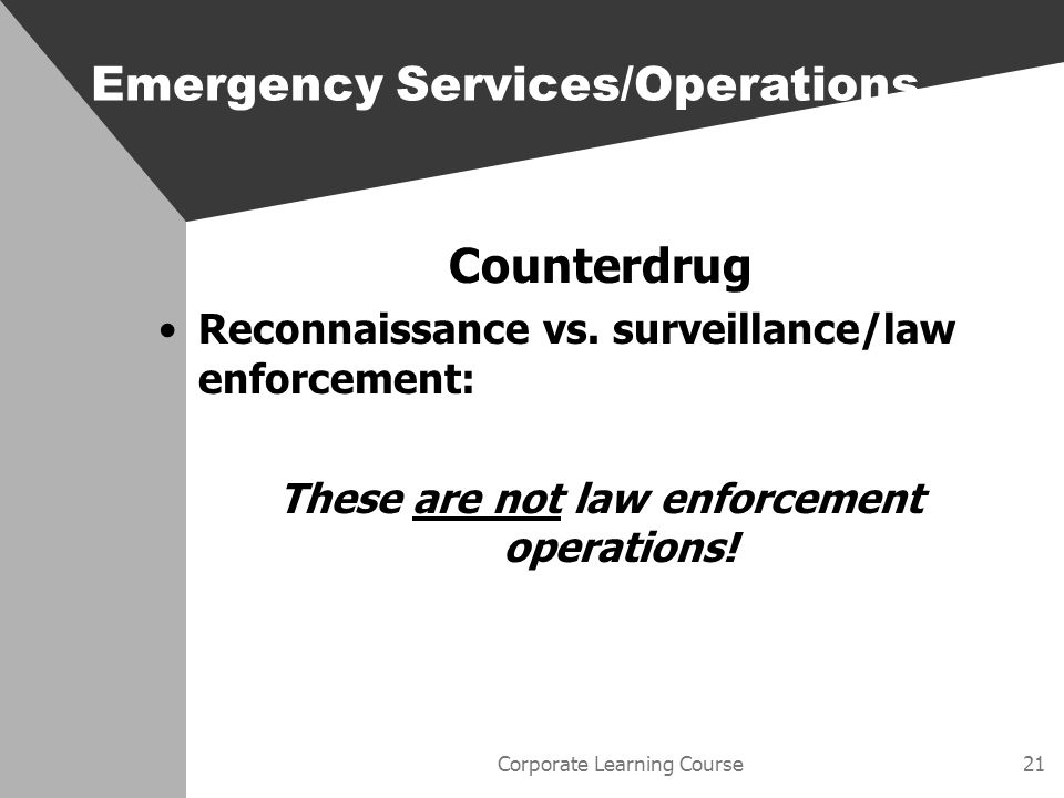 Corporate Learning Course21 Counterdrug Reconnaissance vs.