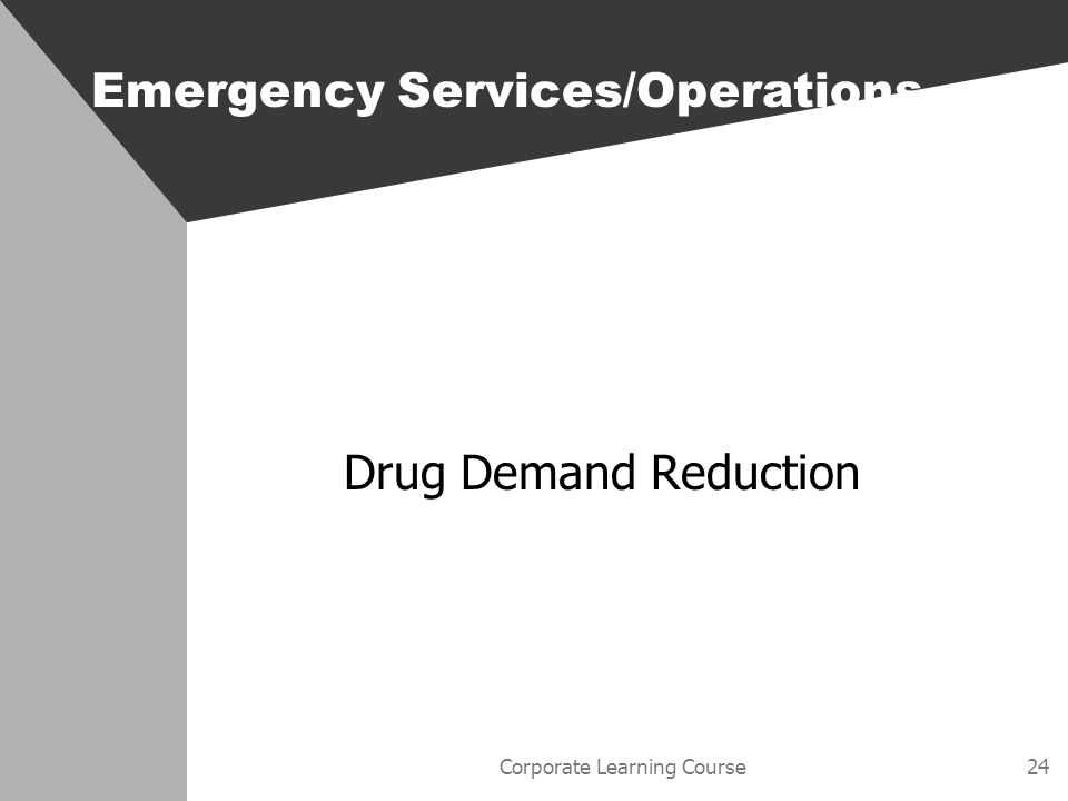 Corporate Learning Course24 Emergency Services/Operations Drug Demand Reduction