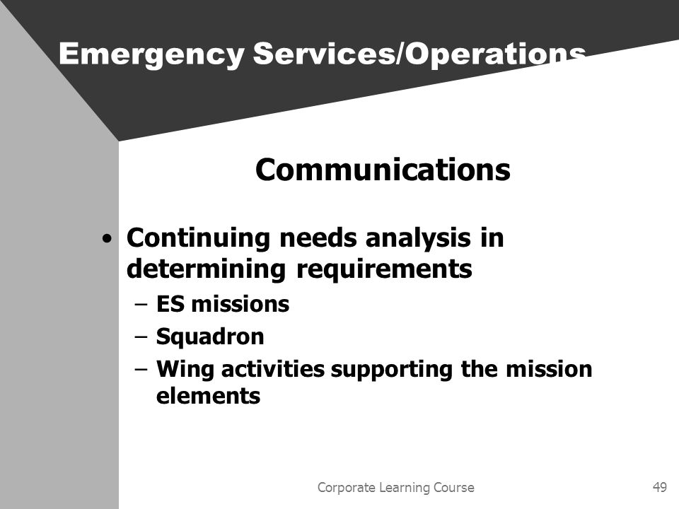 Corporate Learning Course49 Communications Continuing needs analysis in determining requirements –ES missions –Squadron –Wing activities supporting the mission elements Emergency Services/Operations