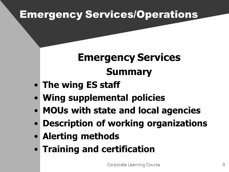 Corporate Learning Course20 Counterdrug Counterdrug overview –Philosophy –Wings involvement –Agency involvement Emergency Services/Operations