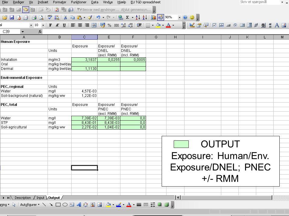 OUTPUT Exposure: Human/Env. Exposure/DNEL; PNEC +/- RMM
