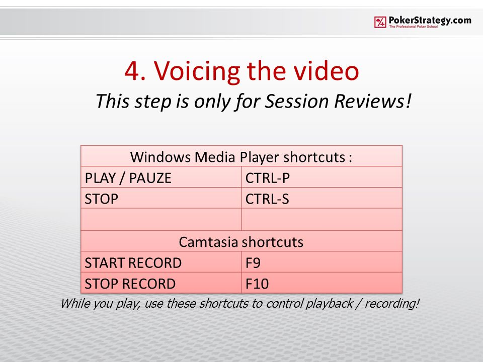4. Voicing the video This step is only for Session Reviews! While you play, use these shortcuts to control playback / recording!