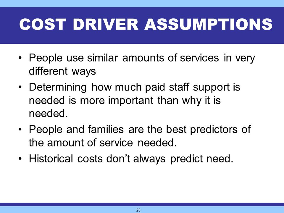 28 COST DRIVER ASSUMPTIONS People use similar amounts of services in very different ways Determining how much paid staff support is needed is more important than why it is needed.