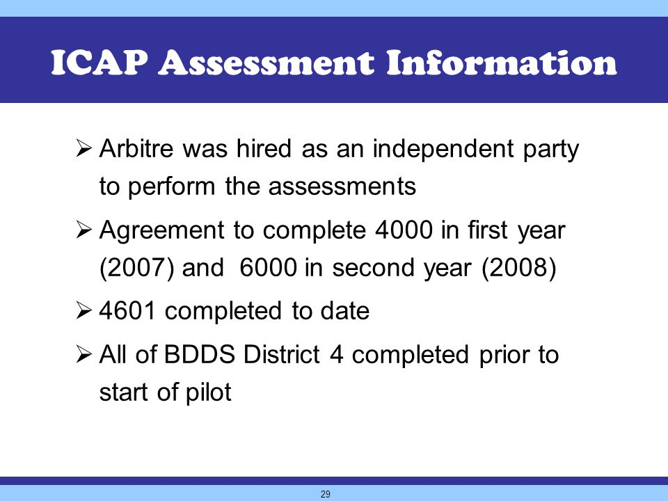 29 ICAP Assessment Information Arbitre was hired as an independent party to perform the assessments Agreement to complete 4000 in first year (2007) and 6000 in second year (2008) 4601 completed to date All of BDDS District 4 completed prior to start of pilot