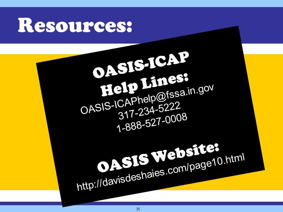 35 OASIS-ICAP Help Lines: OASIS-ICAPhelp@fssa.in.gov 317-234-5222 1-888-527-0008 OASIS Website: http://davisdeshaies.com/page10.html Resources: