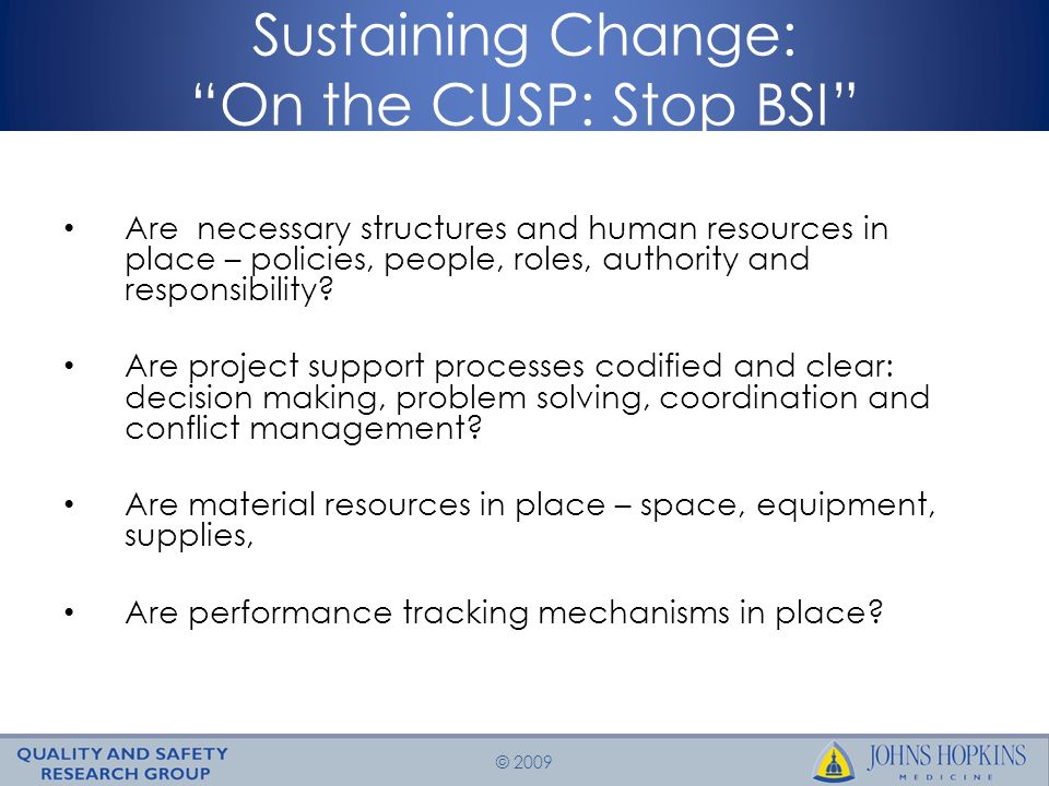 © 2009 Sustaining Change: On the CUSP: Stop BSI Are necessary structures and human resources in place – policies, people, roles, authority and responsibility.