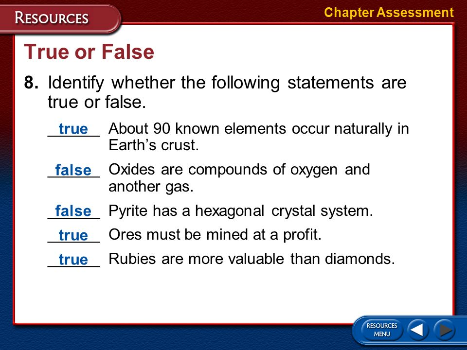 Short Answer 7.What are the characteristics of minerals? Chapter Assessment To be a mineral, a material must be a naturally occurring, inorganic solid