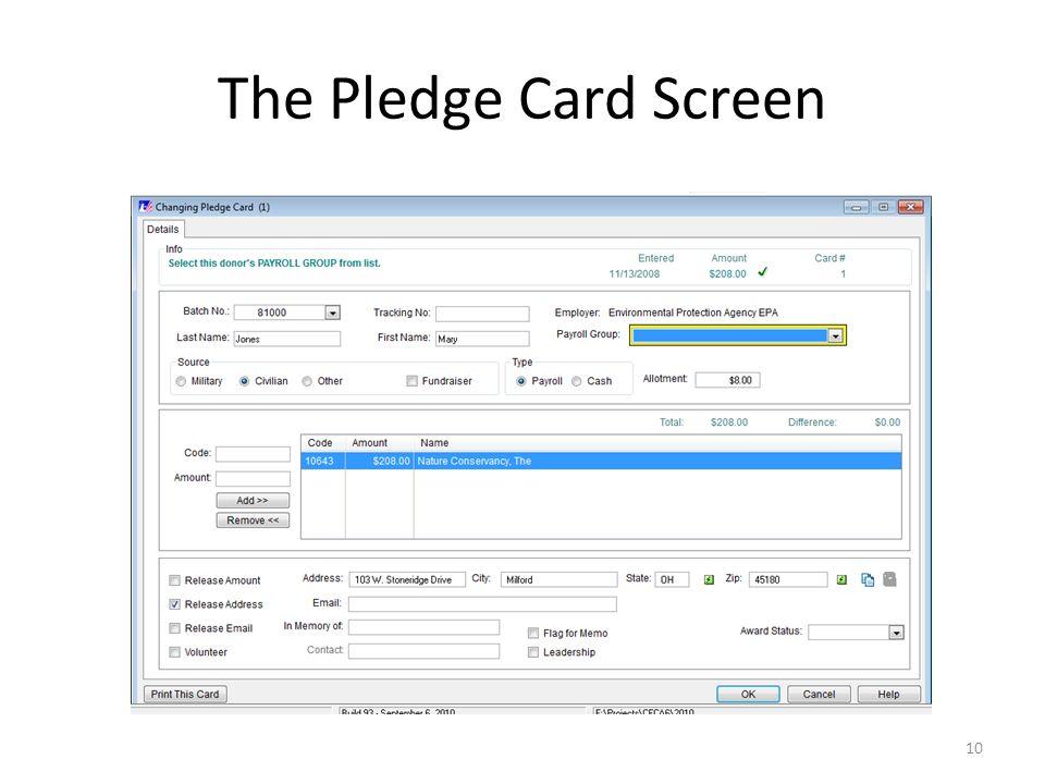 The Pledge Card Screen 10