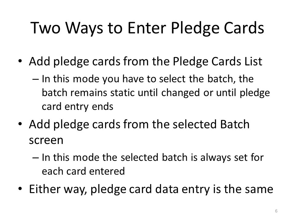 Start From Pledge Card List 7