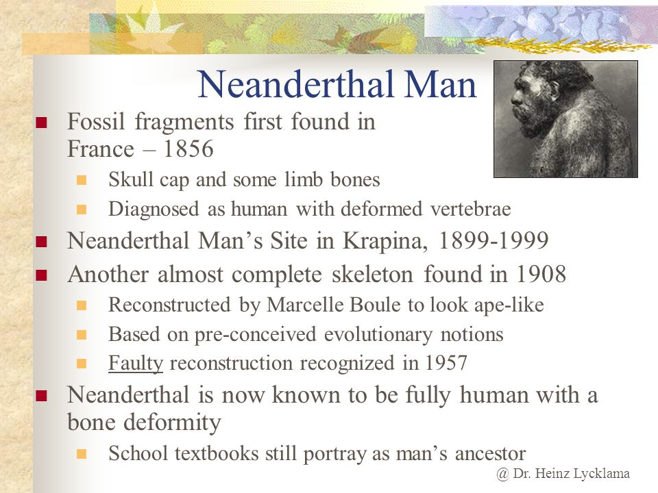 @ Dr. Heinz Lycklama Neanderthal Man Fossil fragments first found in France – 1856 Skull cap and some limb bones Diagnosed as human with deformed vert