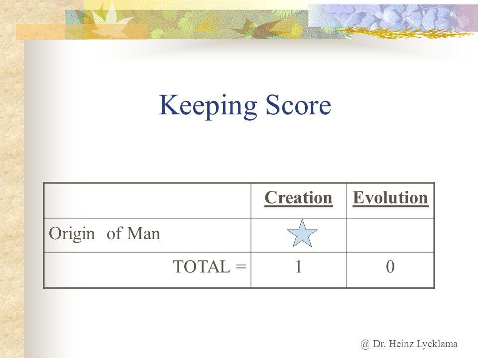 @ Dr. Heinz Lycklama Keeping Score CreationEvolution Origin of Man TOTAL =10