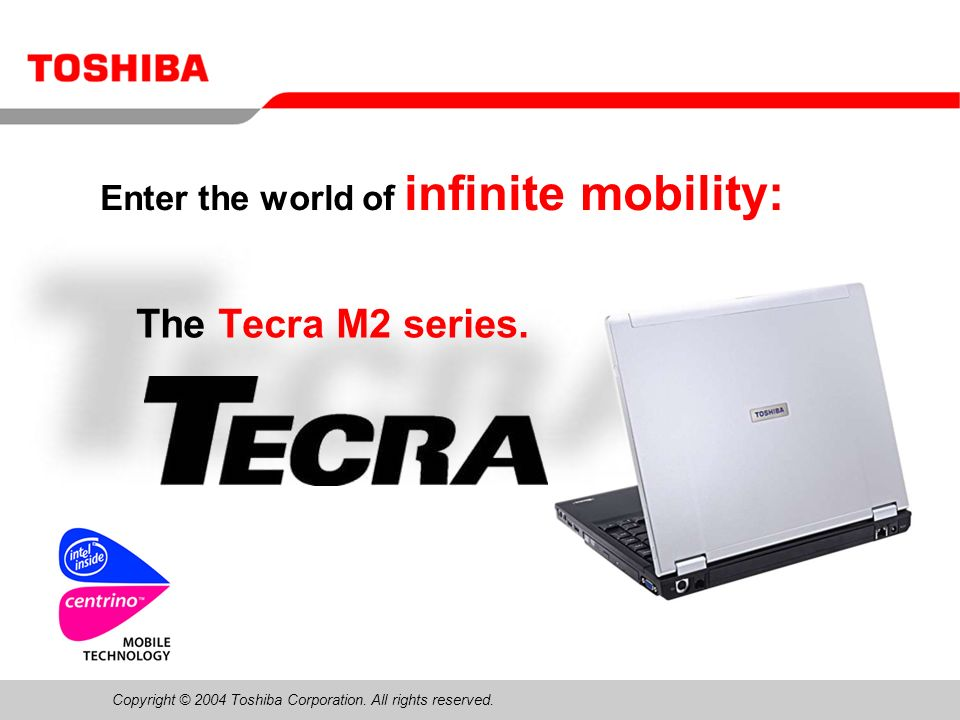 February 200412/Tecra M2 Sales Presentation12 Slim SelectBay drive DVD-ROM drive DVD±R/±RW drive DVD-Multi drive (DVD-R/-RW, DVD-RAM) DVD-Super-Multi drive (DVD±R/±RW, DVD-RAM) Slim SelectBay HDD adapter Second battery pack The Slim SelectBay is a single drive bay that can accommodate a CD-RW/DVD-ROM combo drive or other optional modules such as:
