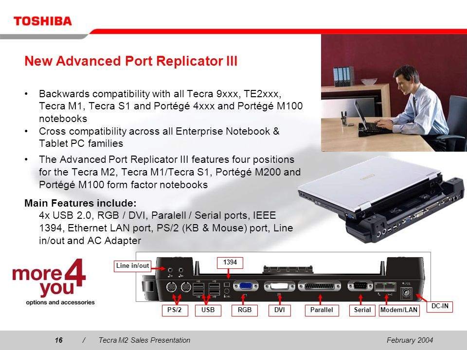 February 200416/Tecra M2 Sales Presentation16 New Advanced Port Replicator III Backwards compatibility with all Tecra 9xxx, TE2xxx, Tecra M1, Tecra S1 and Portégé 4xxx and Portégé M100 notebooks Cross compatibility across all Enterprise Notebook & Tablet PC families The Advanced Port Replicator III features four positions for the Tecra M2, Tecra M1/Tecra S1, Portégé M200 and Portégé M100 form factor notebooks Main Features include: 4x USB 2.0, RGB / DVI, Paralell / Serial ports, IEEE 1394, Ethernet LAN port, PS/2 (KB & Mouse) port, Line in/out and AC Adapter RGBDVIParallelSerialModem/LAN 1394 PS/2USB DC-IN Line in/out
