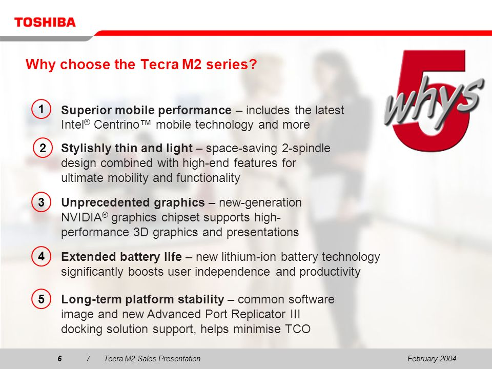 February 200417/Tecra M2 Sales Presentation17 Wide range of Toshiba accessories & options