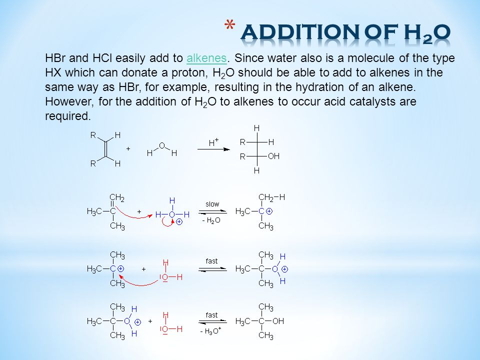 HBr and HCl easily add to alkenes. Since water also is a molecule of the type HX which can donate a proton, H 2 O should be able to add to alkenes in