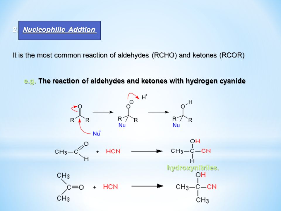 2.Nucleophilic Addtion It is the most common reaction of aldehydes (RCHO) and ketones (RCOR) e.g. The reaction of aldehydes and ketones with hydrogen