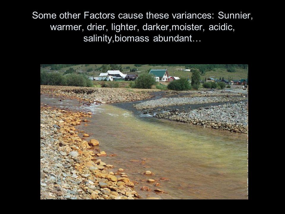 Some other Factors cause these variances: Sunnier, warmer, drier, lighter, darker,moister, acidic, salinity,biomass abundant…