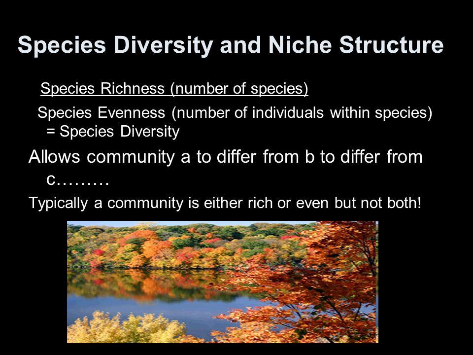 Species Diversity and Niche Structure Species Richness (number of species) Species Evenness (number of individuals within species) = Species Diversity