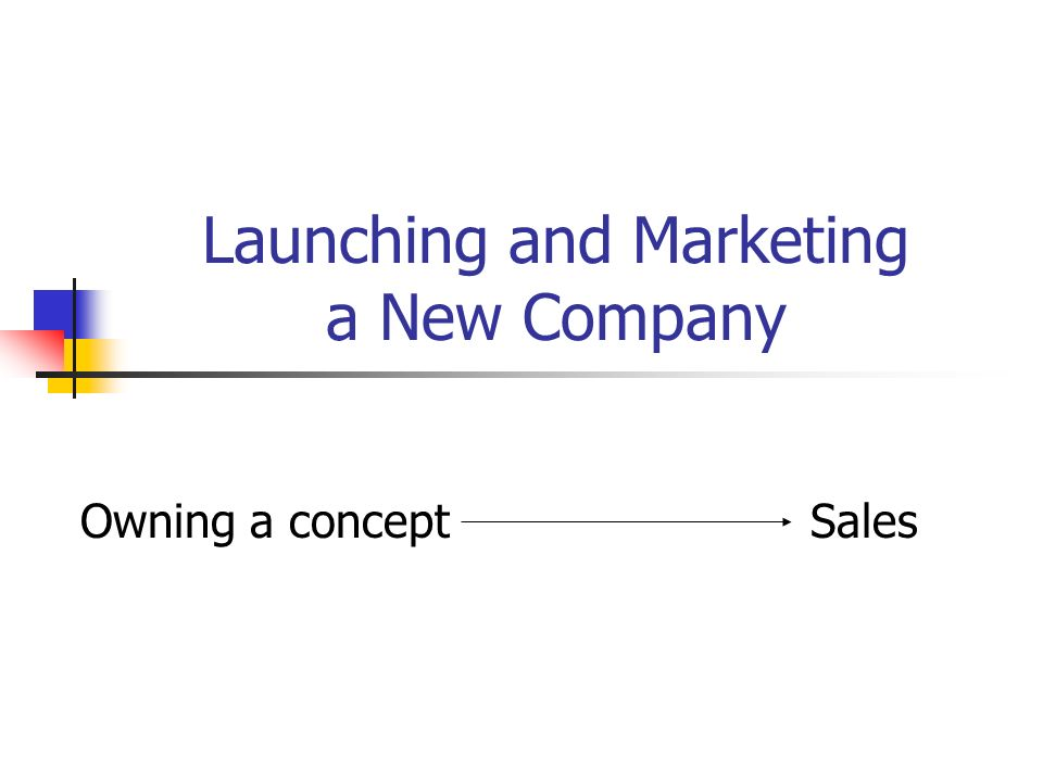 Launching and Marketing a New Company Owning a concept Sales