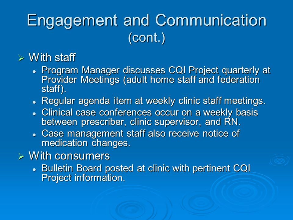 Engagement and Communication (cont.) With staff With staff Program Manager discusses CQI Project quarterly at Provider Meetings (adult home staff and