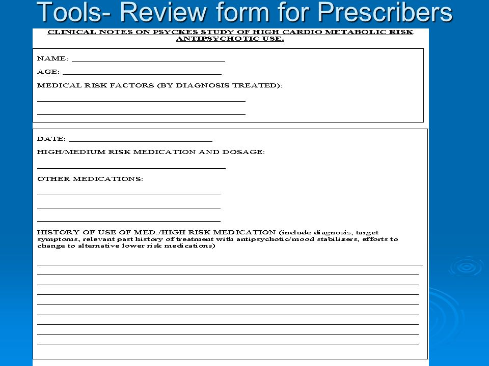 Tools- Review form for Prescribers