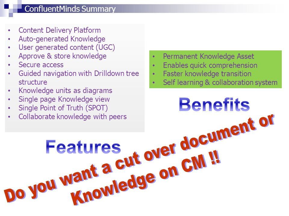 Content Delivery Platform Auto-generated Knowledge User generated content (UGC) Approve & store knowledge Secure access Guided navigation with Drilldo