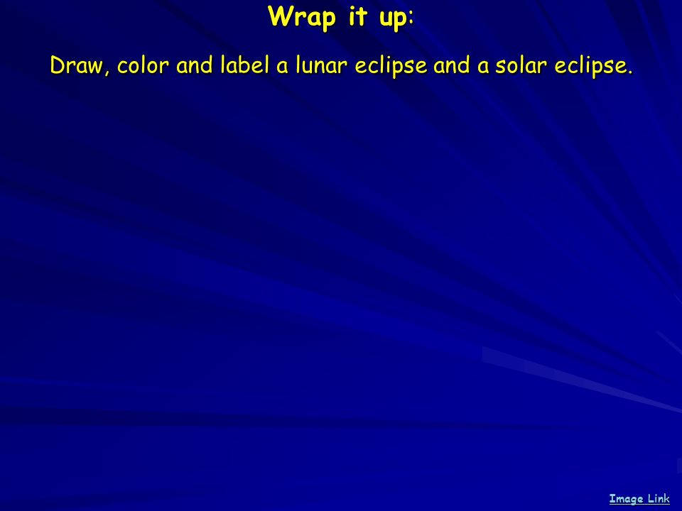 Wrap it up: Draw, color and label a lunar eclipse and a solar eclipse. Image Link Image Link