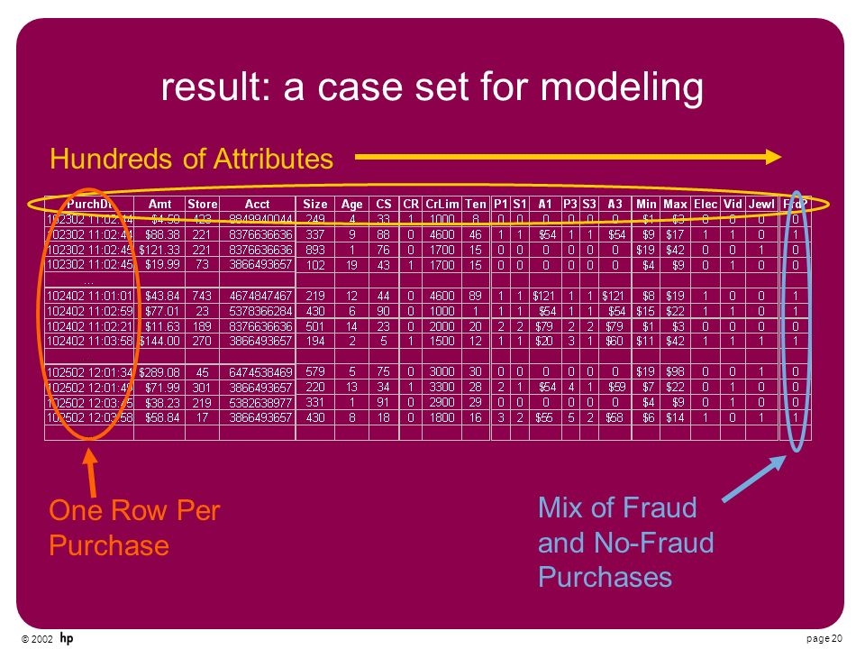 © 2002 page 20 result: a case set for modeling Hundreds of Attributes One Row Per Purchase Mix of Fraud and No-Fraud Purchases