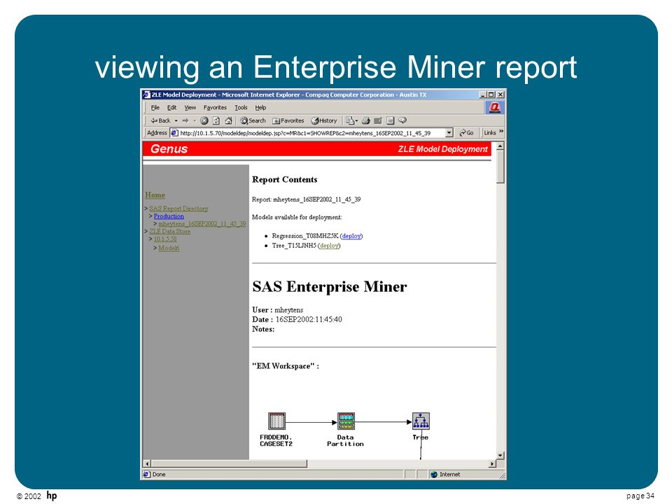 © 2002 page 34 viewing an Enterprise Miner report