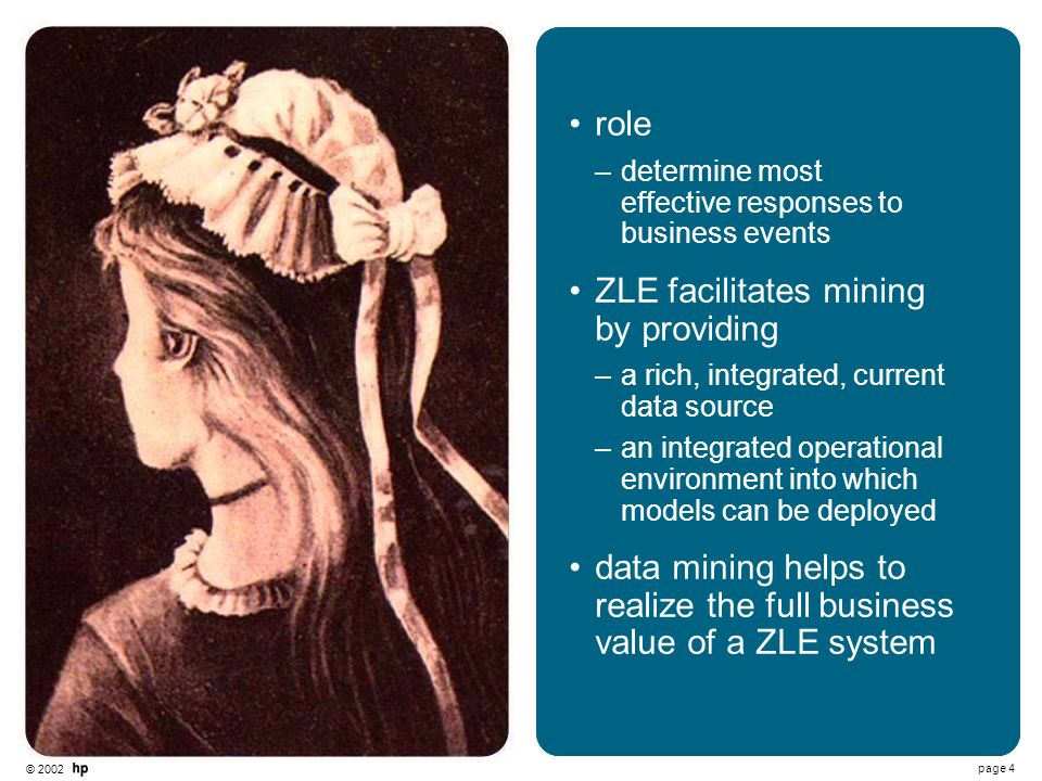 © 2002 page 4 title text role –determine most effective responses to business events ZLE facilitates mining by providing –a rich, integrated, current data source –an integrated operational environment into which models can be deployed data mining helps to realize the full business value of a ZLE system